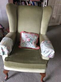 2 matching wing back arm chairs