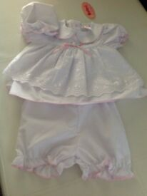 White baby girl dress with pants brand new