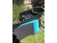 Large pond filter complete with pipework and new mats, £75