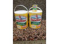 Sandtex masonry paint - about 9 litres Magnolia