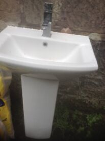 W.h.b, with mixer tap,£25.00,and matching w.c free,