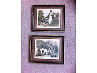 2 picture prints of ancient british pubs 29cmx 24cm