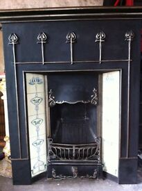 Winther-Browne cast iron fireplace with tile inserts