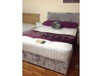 KINGSIZE 5 FT BED WITH ORTHO MATTRESS AND HB CRUSHED SILVER VELVET