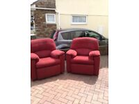 Three piece suite in red in good condition , can be sold separately , must be able to collect