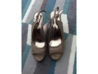LADIES TAUPE SUEDE WEDGES - SIZE 6/39