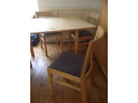 Ikea Extendable Dining Table and 4 chairs with blue pads