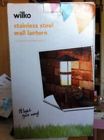 4 x stainless steel wall lanterns modern NEW BOXED