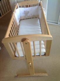 Mothercare Wooden Crib with cool max mattress, 3x sheets, protector, blanket, jumper & tidy pockets