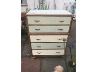 Solid oak 1930/40s chest on chest of drawers