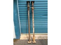 """2 x acrow props, used, heavier than modern, 1 Acrow 1 Audax, 69"""" tall 6"""" square plates"""