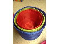 Set of 3 pop up storage baskets, toy storage