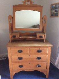 Stripped pine dressing table for sale, perfect for upcycling, in need of tlc