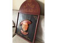 """Authentic Timber Pub Sign """"KINGS HEAD """"600x950 3D"""