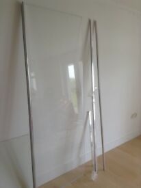 Freestanding shower screen 780mm wide X 2000mm high x8mm toughened glass,