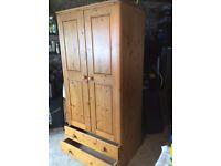 Antique Pine Single 2 drawer wardrobe