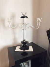 Heavy glass candelabra