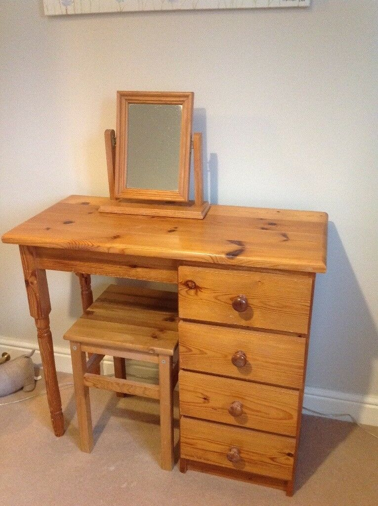 Dressing Table With Mirror And Stool: Dressing Table, Stool, Chest Of Drawers & Mirror.