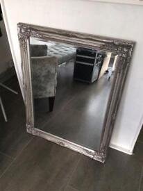 2 x silver ornate mirrors