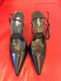 Faith black leather shoes size 6. Never worn.