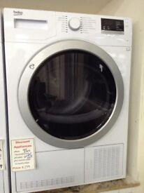 Beko 9kg white condensing dryer. RRP £349. 12 month Gtee