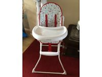 Child's Feeding High Chair with Large Tray Good Condition