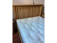 King size solid oak bed with mattress (both new)
