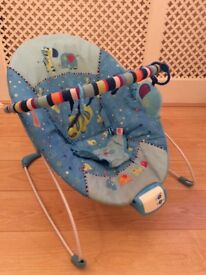 Bright Starts baby Bouncer seat chair boys blue toy bar elephant music vibrating