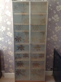 Ikea oak and glass cabinet with shelves exc condition