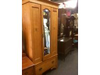 Reduced ....vintage mirror fronted oak wardrobe