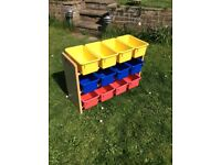Nursery /toy or craft storage shelves with boxes