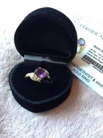 9K Uruguayan Amethyst & White Topaz Gold Ring, bought from Gems T.V