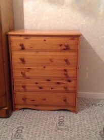 Pine chest of 5 drawers. Ideal as is or as a shabby chic project. Offers accepted.