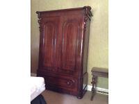 Large Vintage Mahogany Wood Wardrobe & Base with Drawers
