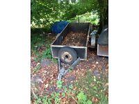 Trailer metal 10ftx3.5ft no trolley wheel sturdy welds sheet metal sides strong bottom