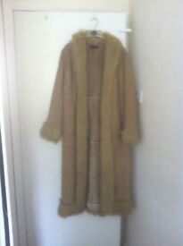 Long camel faux suede coat