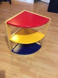 Kids 3-tier coloured corner shelf unit