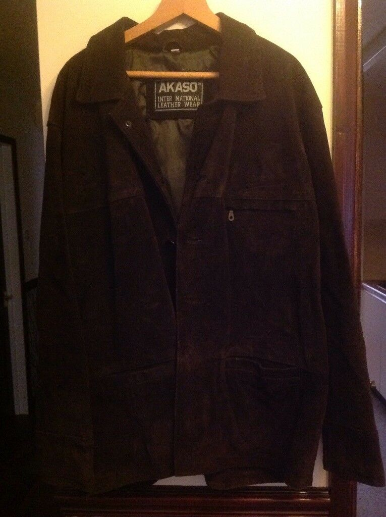 Mens leather suede jacket size XL
