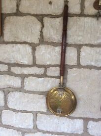 Old Brass Bed Warmer nice detail looks good hanging against stone wall etc