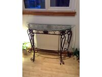 Glass and wrought iron high hall or side table