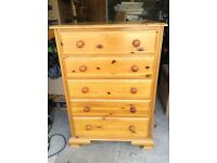 Good Condition Solid Pine Set of Drawers