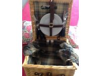 Wicker picnic hamper including 2 place settings