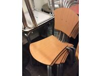 25 cafe chairs wooden with metal frame