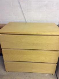 Malm Ikea 3 Drawer chest. Good condition