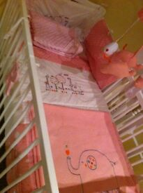 Cot with mattress and nursery set