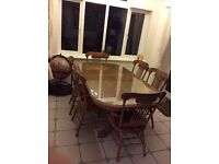 Great condition wooden dining room furniture with cabinet storage unit, coffee table, drinks unit.