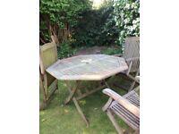 Hardwood octagonal table and 3 hardwood chairs