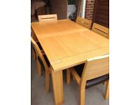 Solid Oak Extending Table with 6 Chairs
