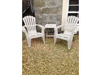 Plastic wooden effect X 2 chairs and matching small table