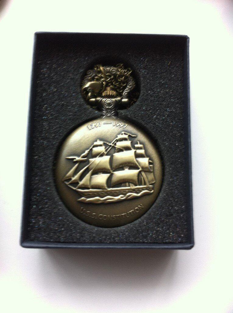 Vintage Watch Bronze Sailboat Steam Quartz Pocket Watch